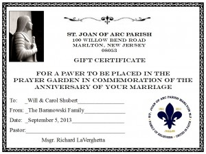 Prayer Garden Certificate